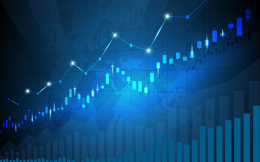 Financial stock market graph on stock market investment trading, Bullish point, Bearish point. trend of graph for business idea and all art work design. vector illustration.