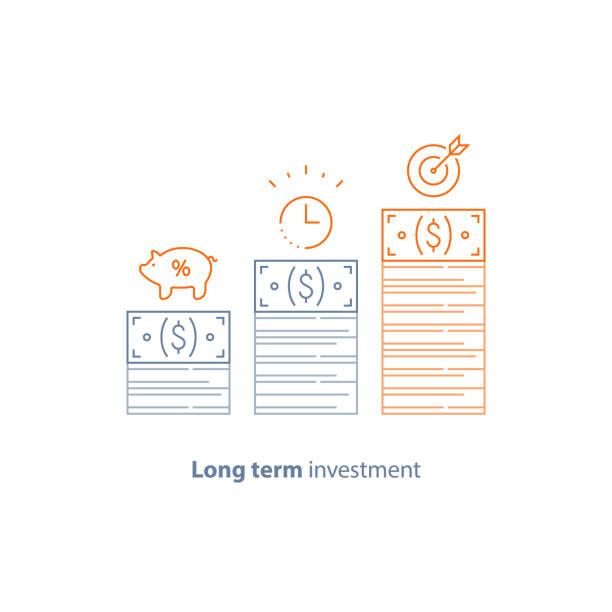 Finanzstrategie, Einkommen erhöhen, Kapitalrendite, Fundraising, lange Begriff Inkrement, Umsatzwachstum, Börse – Vektorgrafik