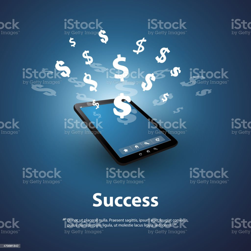 Financial Success, Buy & Sell Online - Graphic Design Concept vector art illustration
