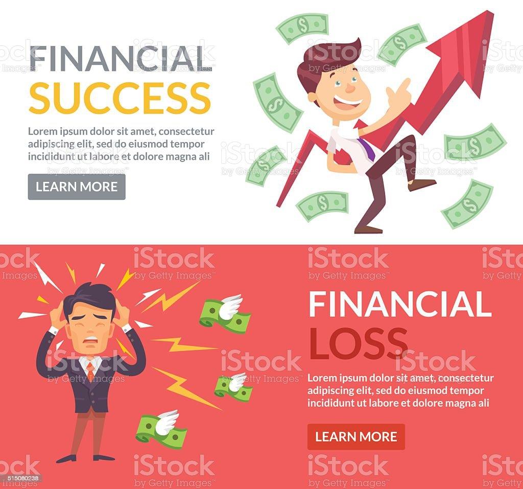 Financial success, financial loss vector art illustration