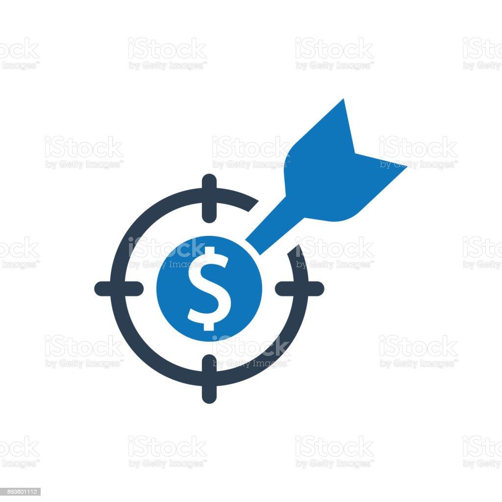 Ícone de alvo financeiro - ilustração de arte em vetor