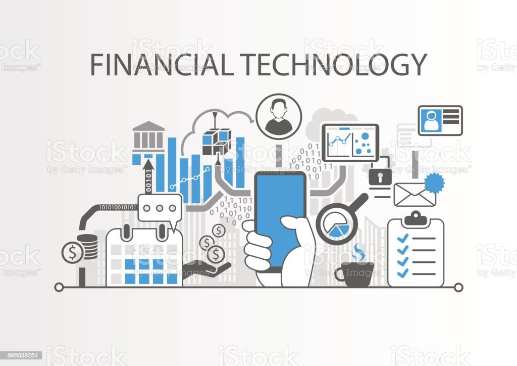 Financial Technology / Fin-Tech concept vector background with hand holding smartphone vector art illustration