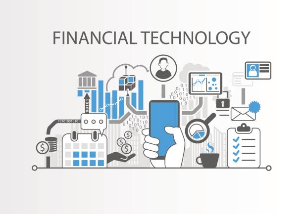 Financial Technology / Fin-Tech concept vector background with hand holding smartphone Financial Technology / Fin-Tech concept vector background with hand holding smartphone digitized stock illustrations