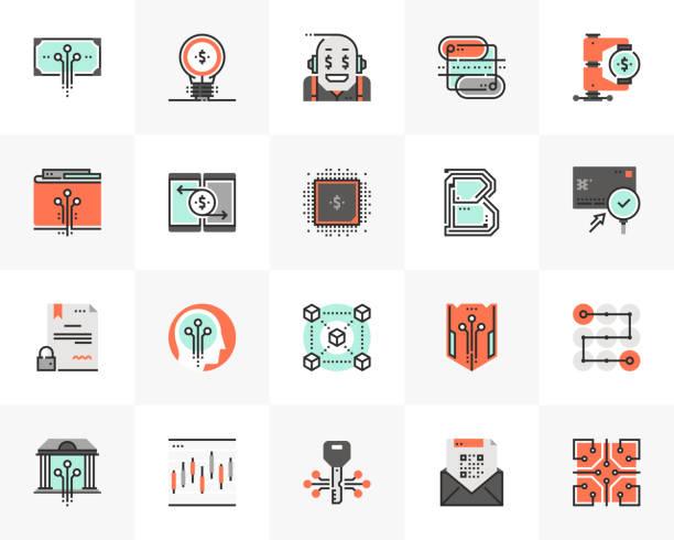Financial Technology Futuro Next Icons vector art illustration