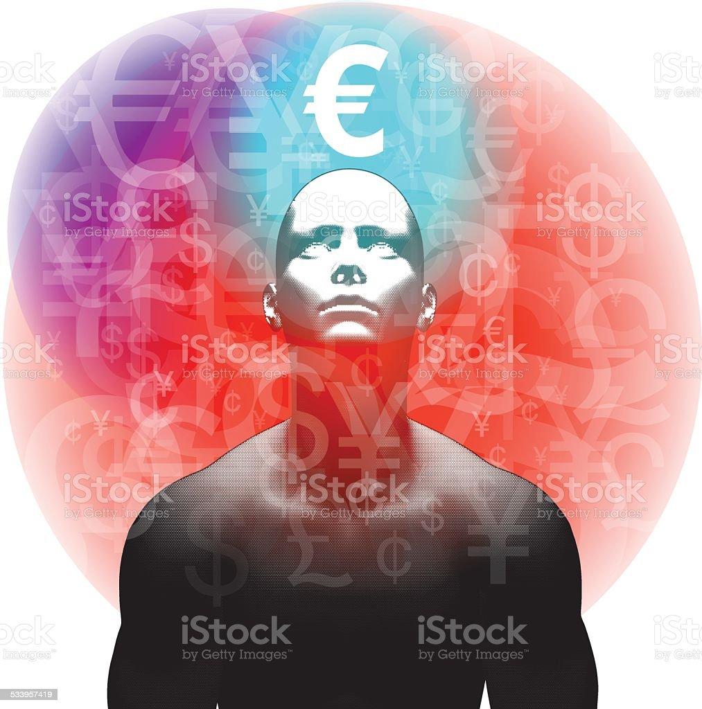Financial Thinking - Euro vector art illustration