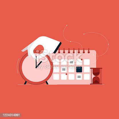 istock Financial time management concept, Time Control and Project Management illustration, daily planner with Calendar and Clock 1224014991