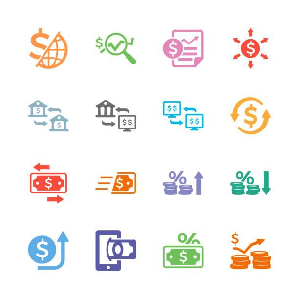 illustrations, cliparts, dessins animés et icônes de icônes de transaction financière - inflation