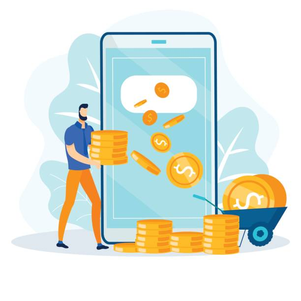 Financial Transaction Online, Fast Money Transfer Financial Transaction and Fast Money Transfer via Internet. Online Payment Service on Mobile. Remote Earnings and Savings Account. Cartoon Man with Gold Coins Stack. Vector Flat Illustration budget patterns stock illustrations