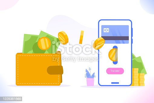 Financial transaction or withdrawal concept. Sending money from smartphone to wallet. Money transfer and non-cash payment concept, vector illustration
