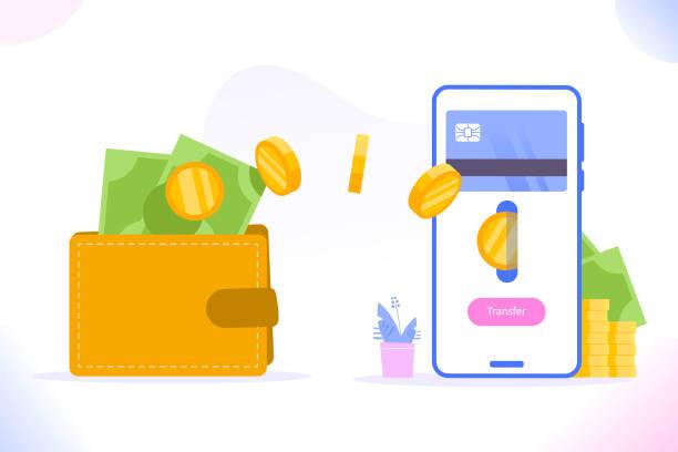 stockillustraties, clipart, cartoons en iconen met financiële transactie of opnameconcept. geld verzenden van smartphone naar portemonnee. geldoverdracht en niet-contant betalingsconcept, vectorillustratie - non profit