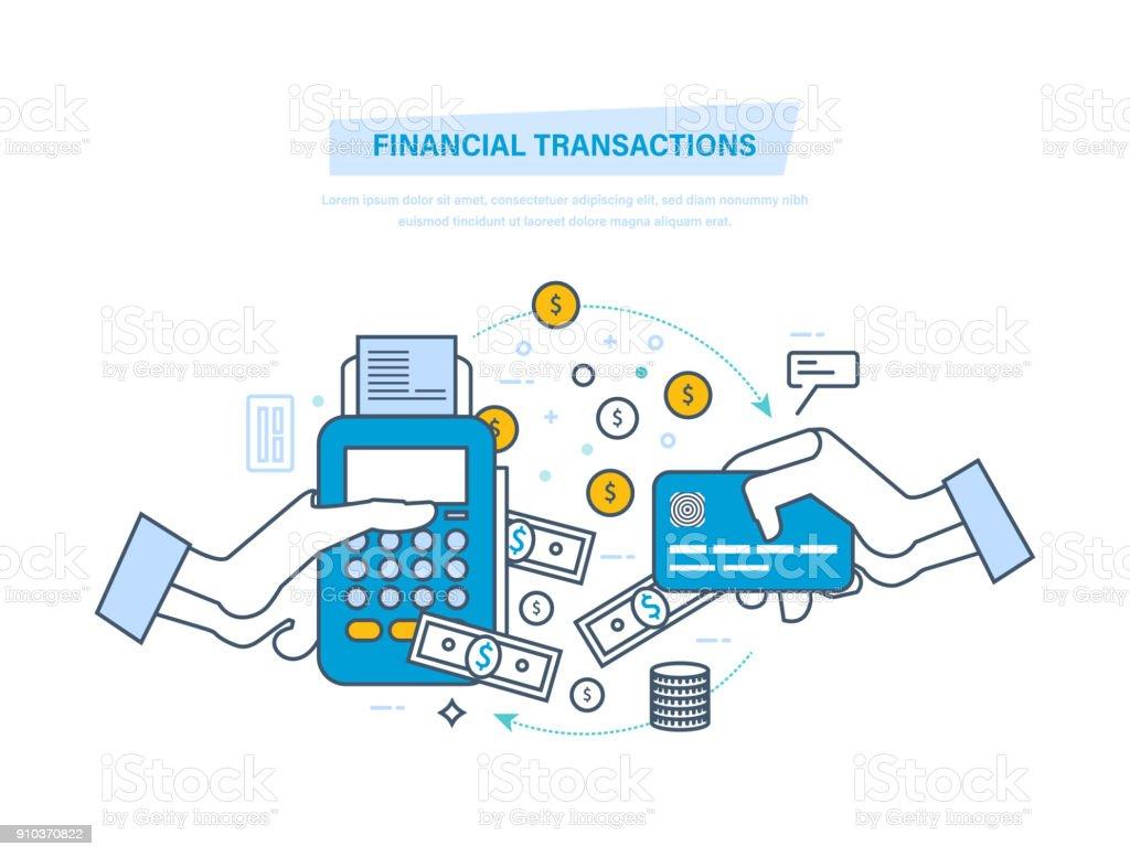 Mali işlemler, Nakitsiz ödeme işlemi. POS terminal, ödeme sistemleri vektör sanat illüstrasyonu