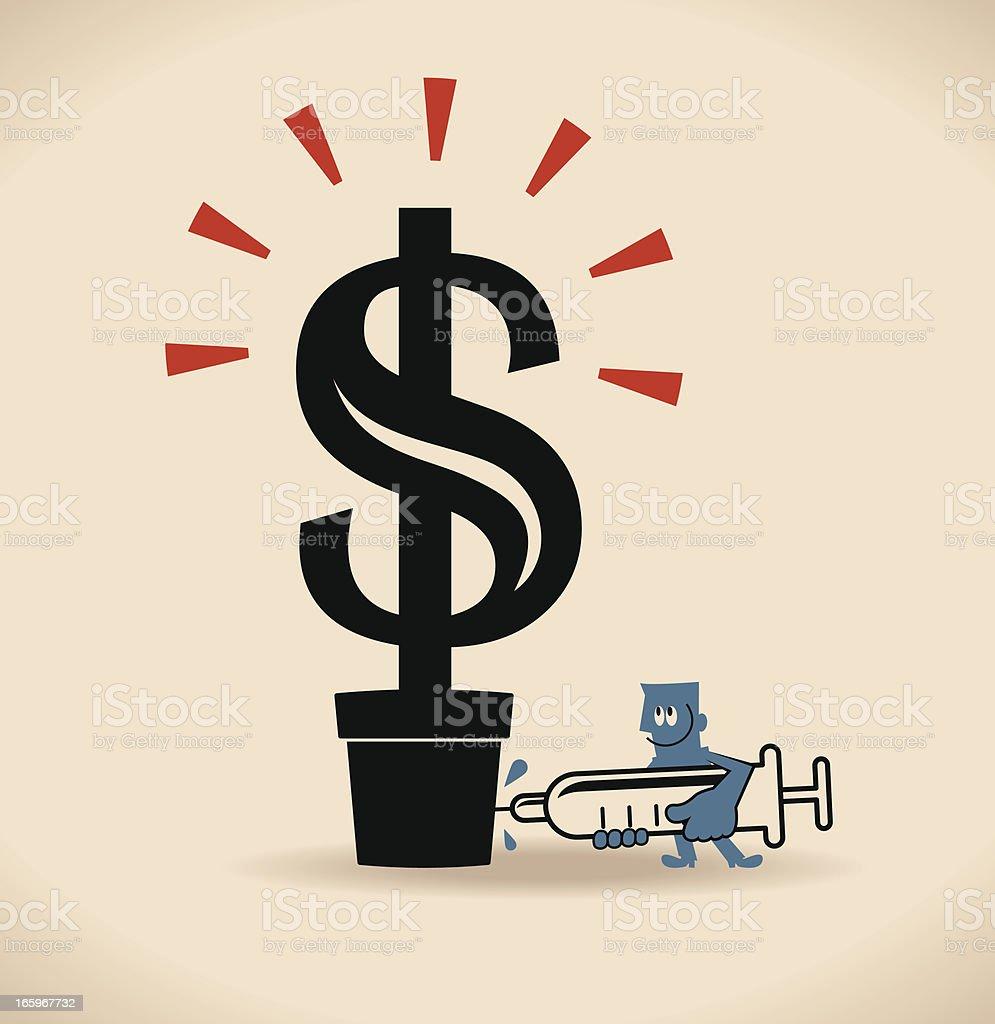 Financial (Money) tree injection vector art illustration