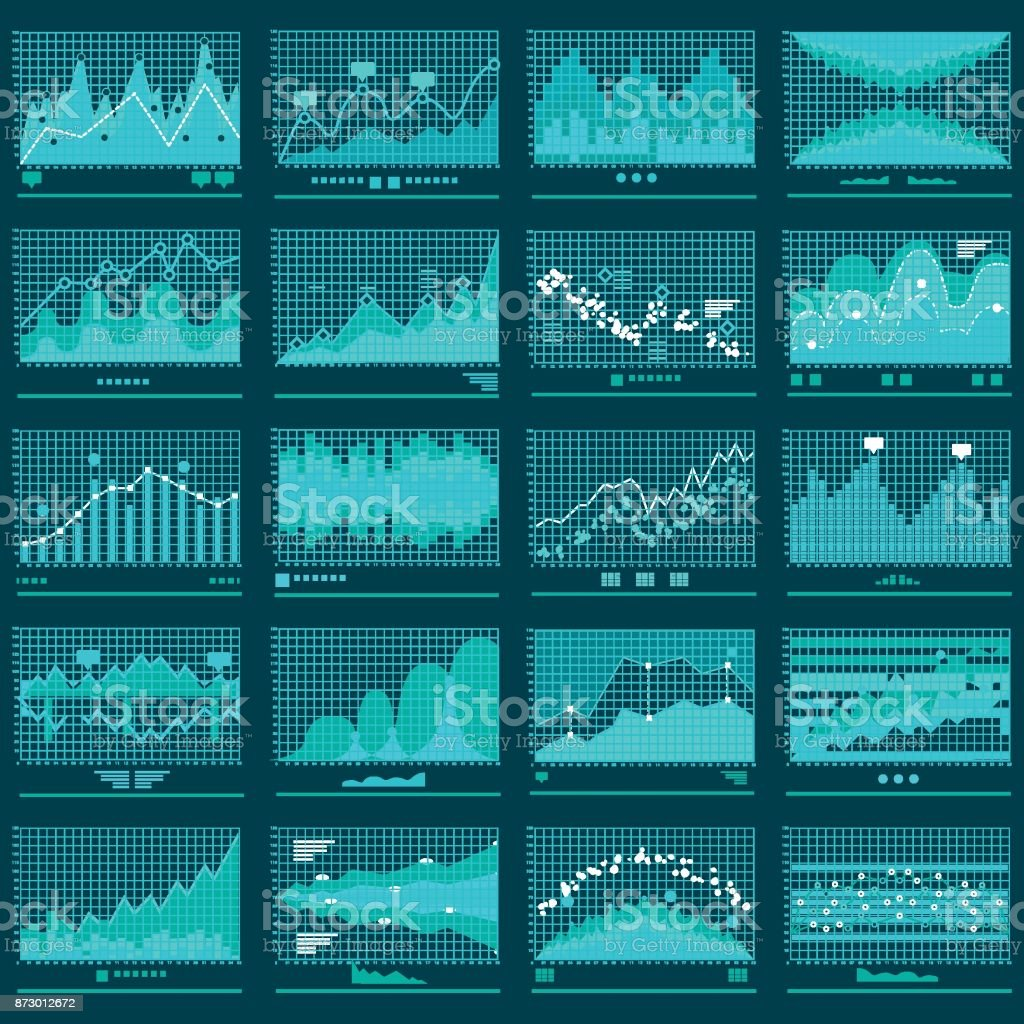 Financial Trend Graphs Business Vector Banner vector art illustration