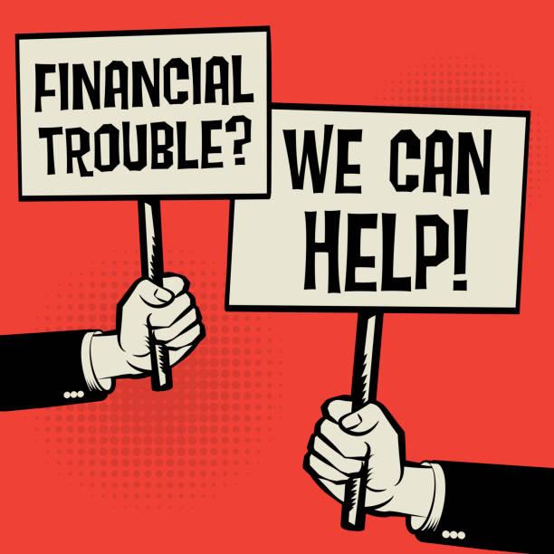 finanzielle schwierigkeiten? wir können helfen! - hypotheken kündigung stock-grafiken, -clipart, -cartoons und -symbole