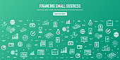 Financing small business outline style web banner design. Line vector icons for infographics, mobile and web designs.