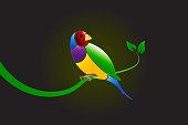 Finch bird logo vector