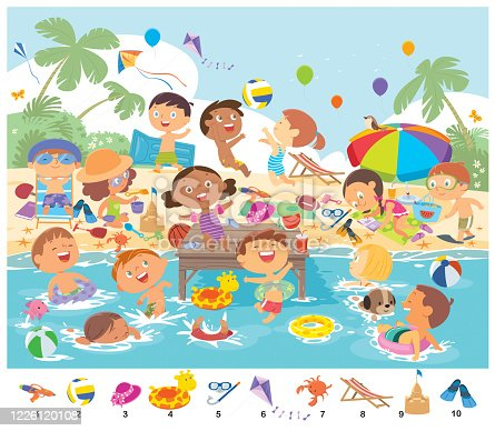 Vector Find 10 objects in the picture. Puzzle Hidden Items. Happy kids having fun on the beach
