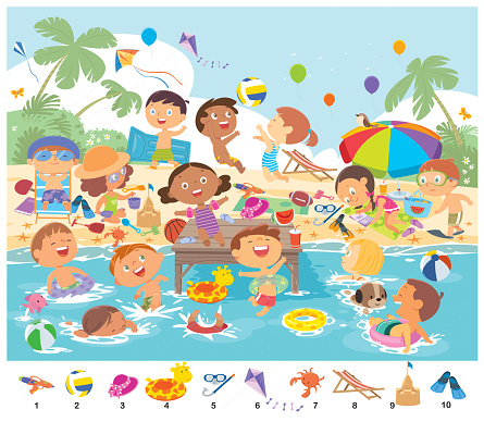 Find 10 objects in the picture. Puzzle Hidden Items. Happy kids having fun on the beach