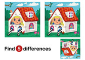 Find 5 differences education game for children. Vector illustration.