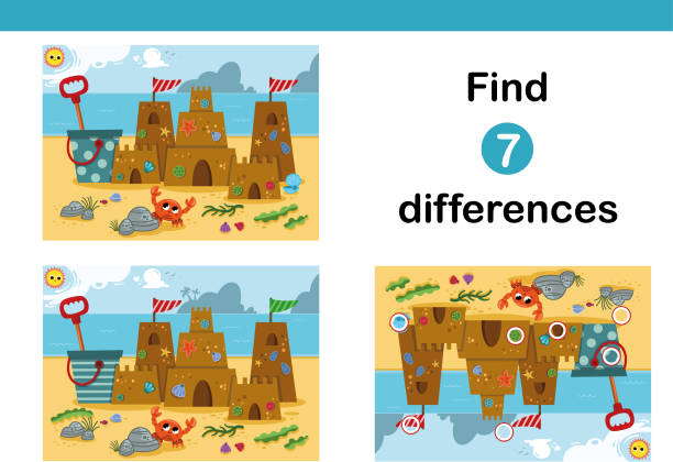 find 7 differences education game for children, featuring a sand castle on the beach. - kontrast stock illustrations