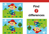 Find 7 differences education game for children, featuring a little gardener. Vector illustration.