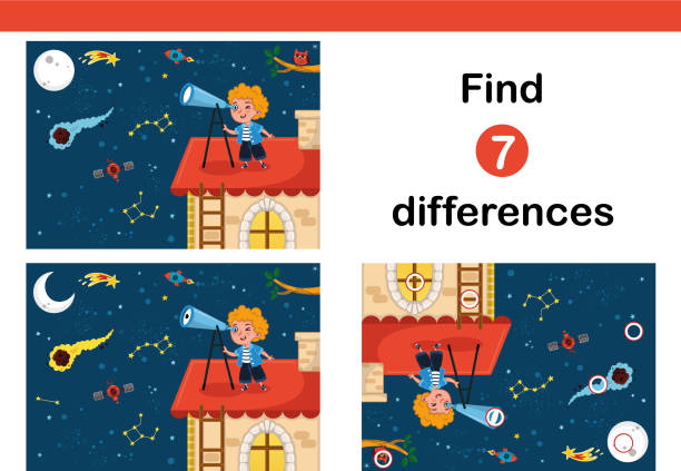 find 7 differences education game for children. - kontrast stock illustrations