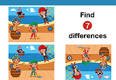 Find 7 differences education game for children.