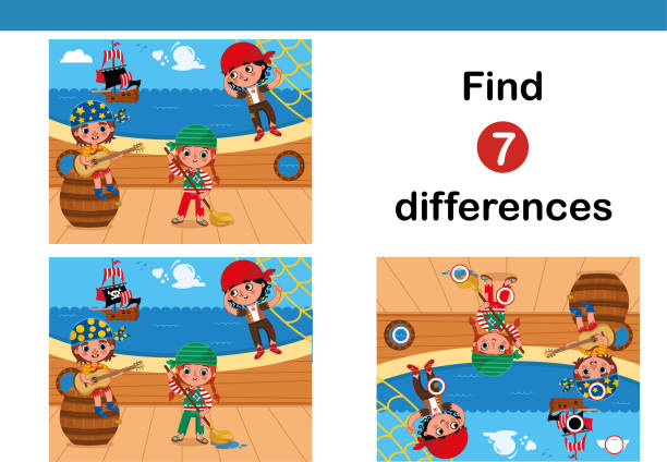 Find 7 differences education game for children. vector art illustration