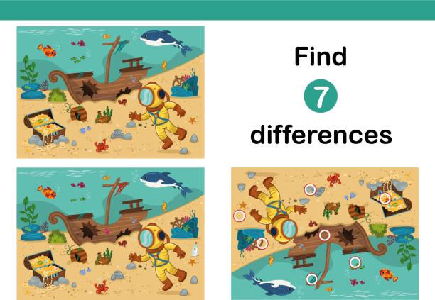 find 7 differences education game for kids. - kontrast stock illustrations