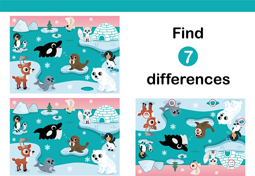 Find 7 Differences Education Game For Kids.