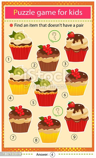 istock Find a item that does not have a pair. Puzzle for kids. Matching game, education game for children. Color set of holiday cupcakes or muffins. Worksheet to develop attention. 1307132319