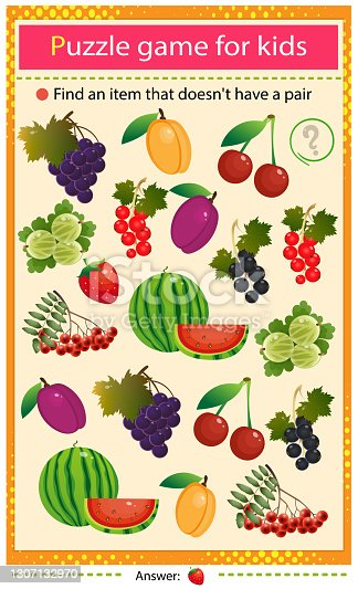 istock Find a item that does not have a pair. Puzzle for kids. Matching game, education game for children. Color set of berries and fruits. Black and red currant, strawberry, apricot, watermelon, gooseberry,  grape, cherry, rowan and plum. Worksheet to develop a 1307132970