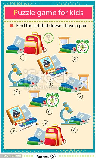 istock Find a school set that does not have a pair. Puzzle for kids. Matching game, education game for children. School supplies. Worksheet to develop attention. 1307132365