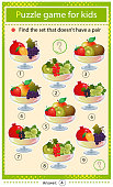 istock Find a set that does not have a pair. Puzzle for kids. Matching game, education game for children. Vases with fruits and berries. Currant, strawberry, apricot, cherry, raspberry, gooseberry, grape, apple and kiwi. Worksheet to develop attention. 1307132355