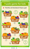 istock Find a set that does not have a pair. Puzzle for kids. Matching game, education game for children. Vases with fruits and berries. Currant, strawberry, apricot, cherry, raspberry, gooseberry, grape, apple and kiwi. Worksheet to develop attention. 1307132376