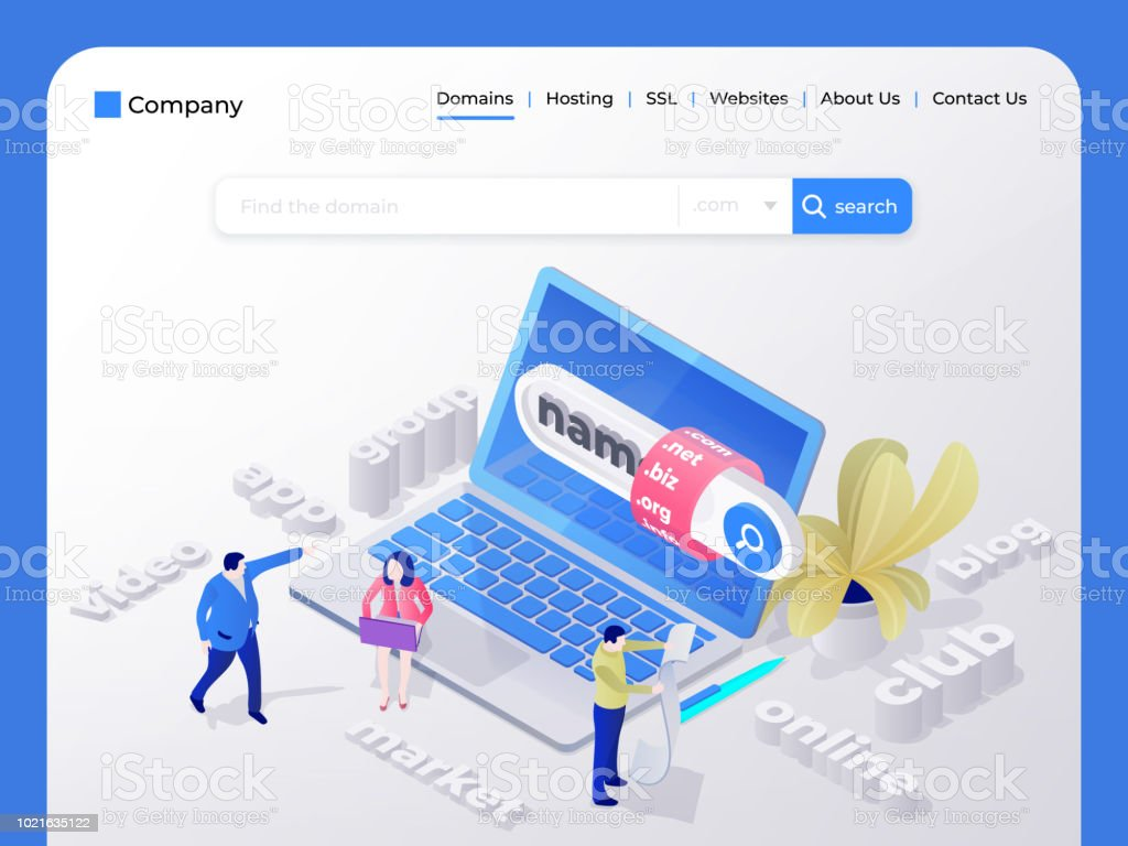 Find And Buy A Domain Name Page Design Templates For Hosting Company Digital Marketing