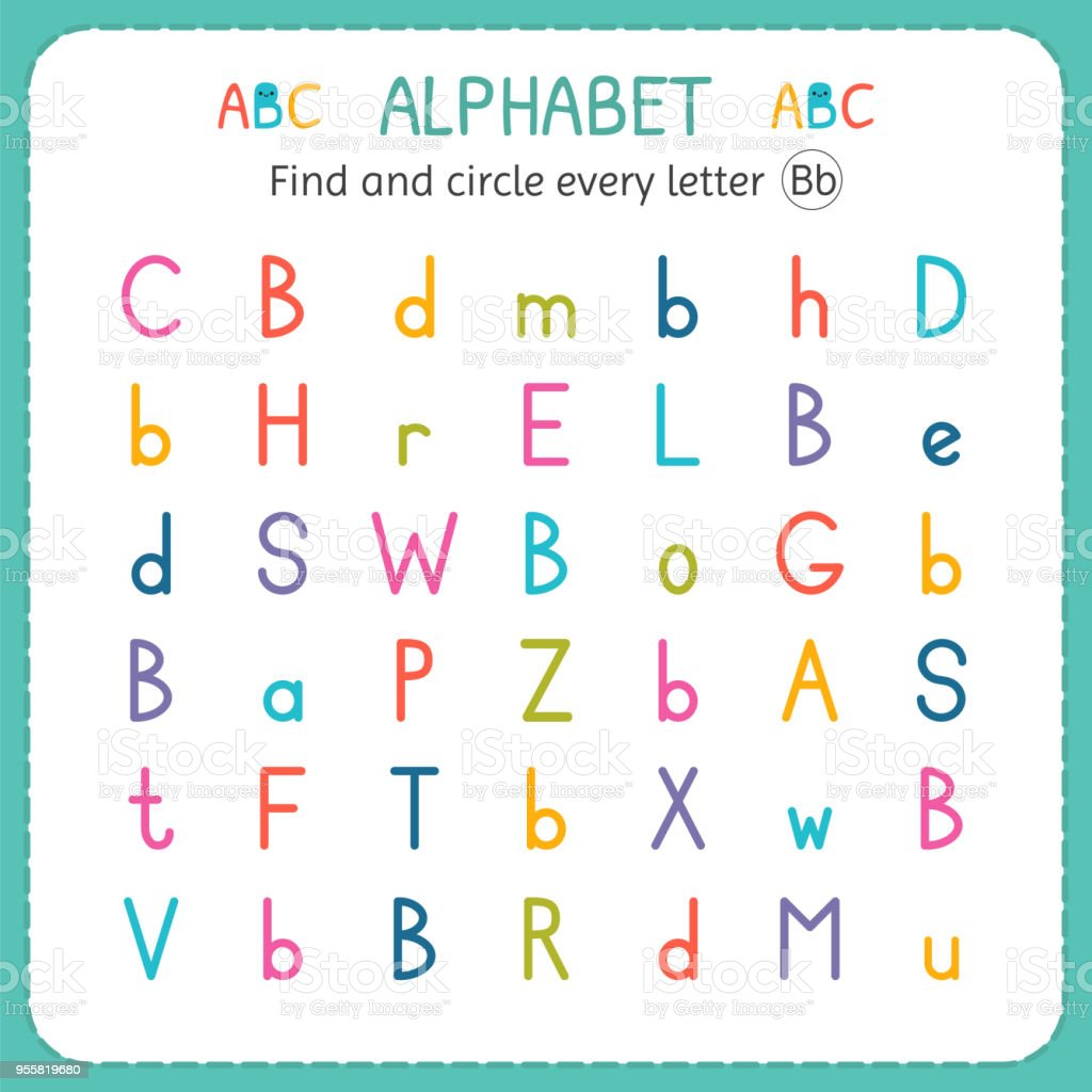 Suche Und Kreise Jeder Buchstabe B Arbeitsblatt Für Kindergarten Und ...