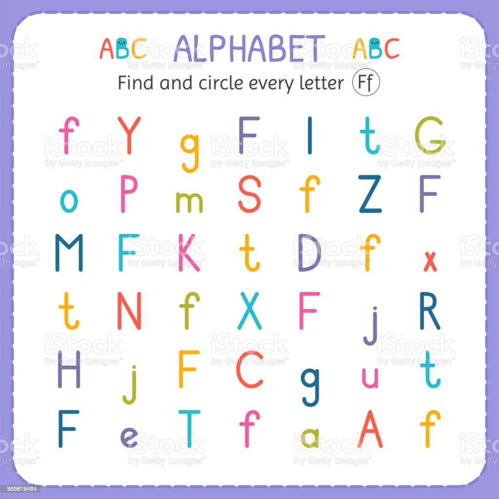 Find And Circle Every Letter F Worksheet For Kindergarten And