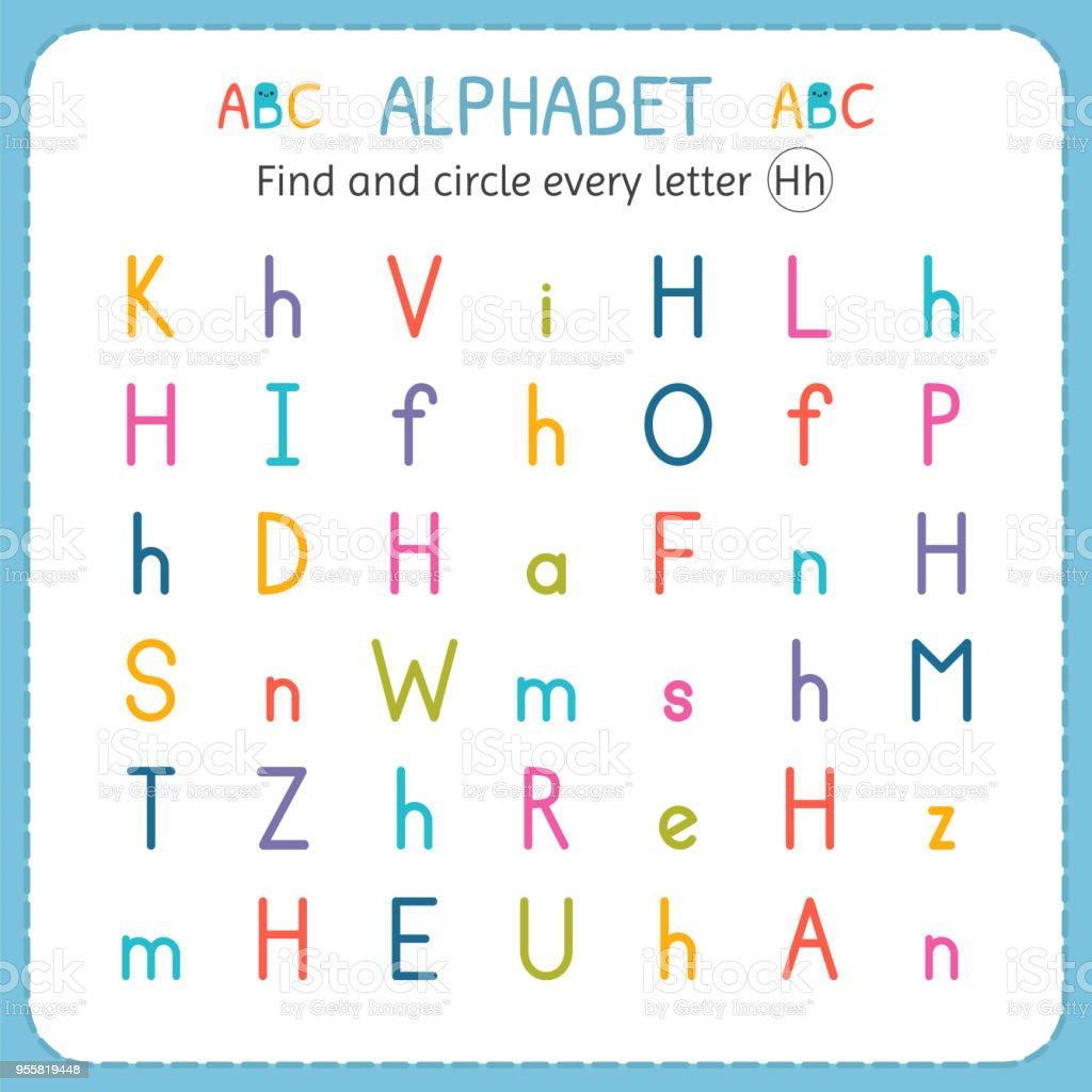 Suche Und Kreise Jeden Buchstaben H Arbeitsblatt Für Kindergarten ...