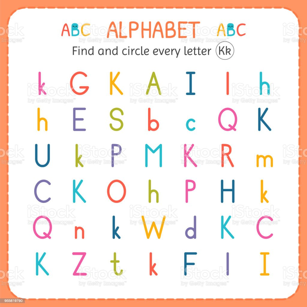 Find And Circle Every Letter K Worksheet For Kindergarten And ...