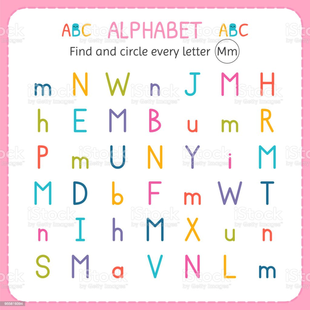 Find And Circle Every Letter M Worksheet For Kindergarten And