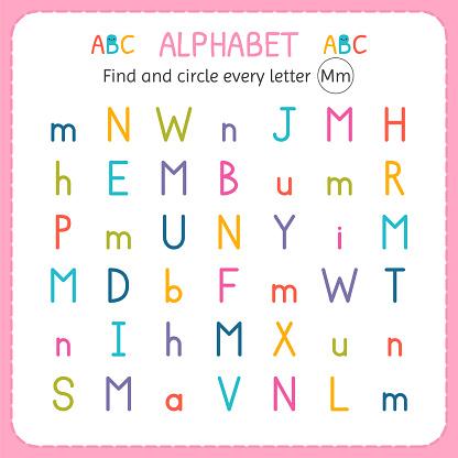 Trouver Et Encerclez Chaque Lettre M Feuille De Calcul ...