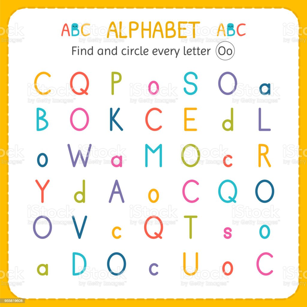 Find And Circle Every Letter O Worksheet For Kindergarten And