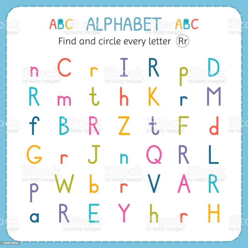 Suche Und Kreise Jeden Buchstaben R Arbeitsblatt Für Kindergarten