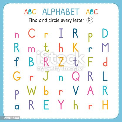 find and circle every letter r worksheet for kindergarten and preschool exercises for children. Black Bedroom Furniture Sets. Home Design Ideas