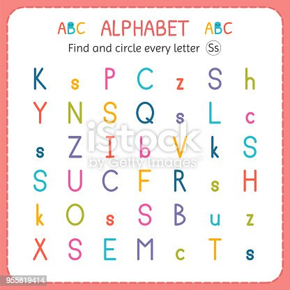 Find And Circle Every Letter S Worksheet For Kindergarten And