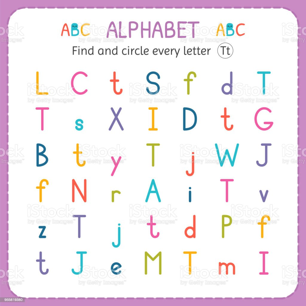 Find And Circle Every Letter T Worksheet For Kindergarten And
