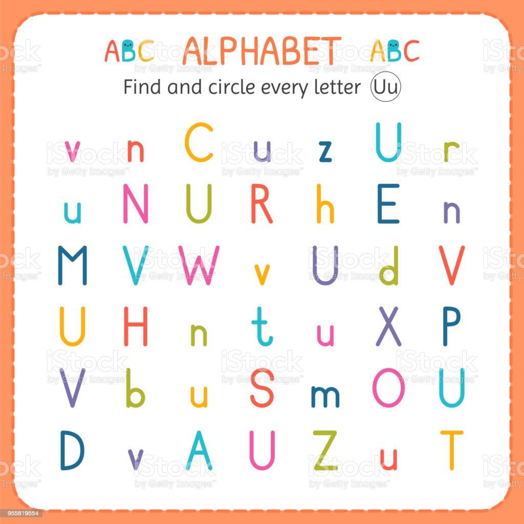 Suche Und Kreise Jeden Buchstaben U Arbeitsblatt Für Kindergarten