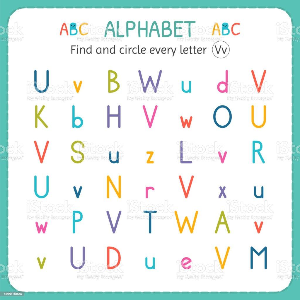 find and circle every letter v worksheet for kindergarten and preschool exercises for children. Black Bedroom Furniture Sets. Home Design Ideas