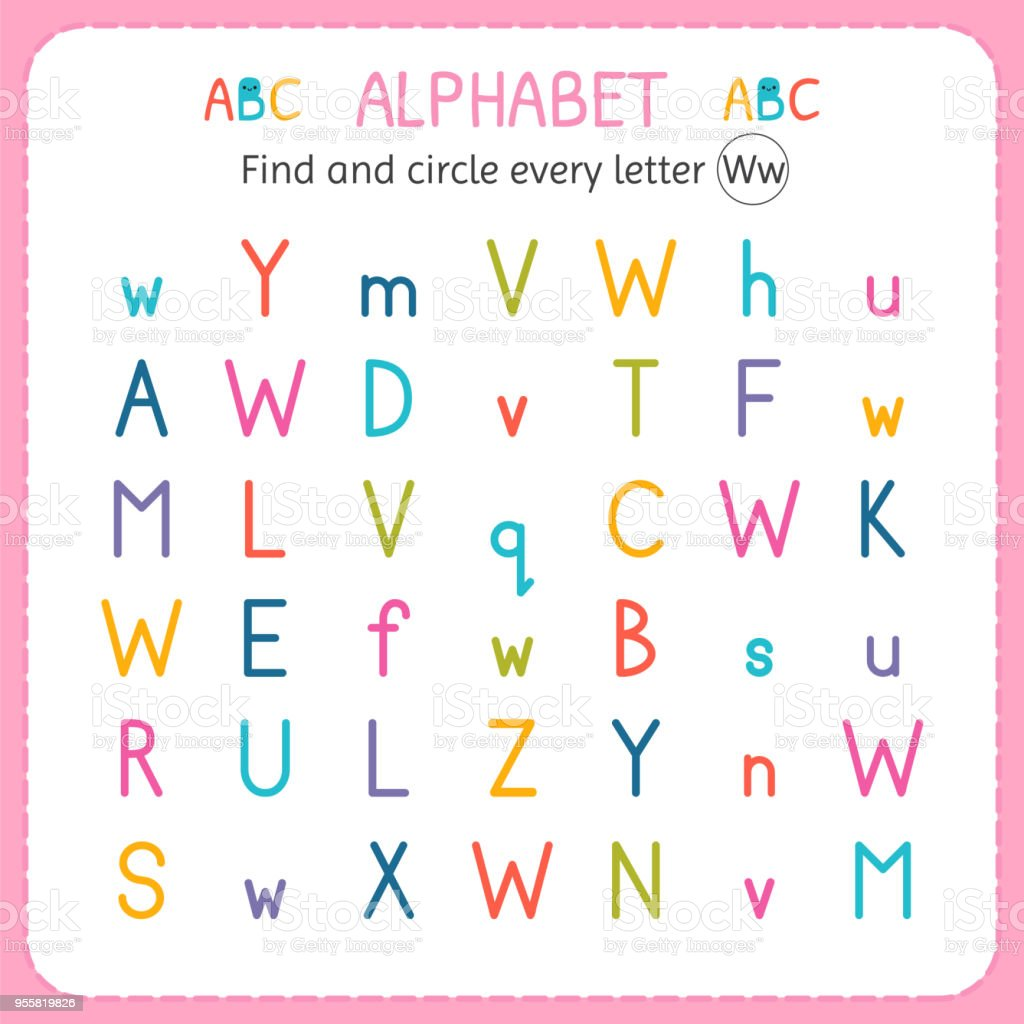 Find And Circle Every Letter W Worksheet For Kindergarten And ...